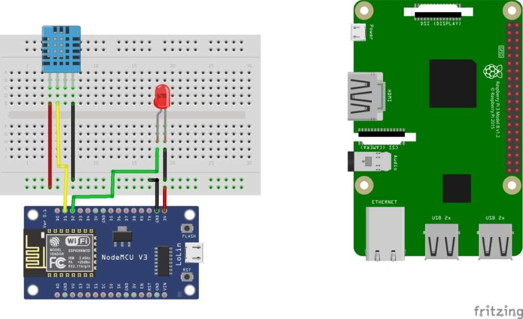 Nodemcu DHT circuit diagram